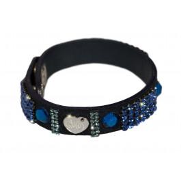"""Wildlederarmband """"Patchwork"""", einfach - schwarz/blau"""