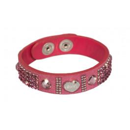"""Wildlederarmband """"Patchwork"""", einfach - pink"""