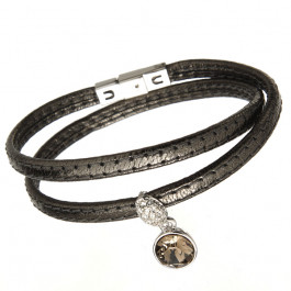 "Damen-Lederarmband ""Dream"" - gun metal"
