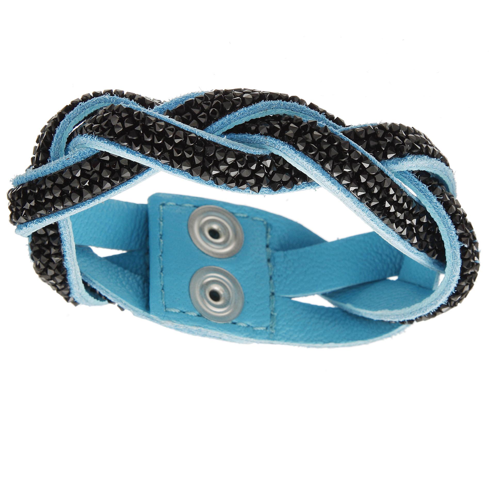 damen lederarmband miami mit crystals from swarovski aqua jet crocus. Black Bedroom Furniture Sets. Home Design Ideas