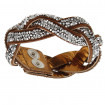 "Damen-Lederarmband ""Miami"" - goldbronze/crystal"