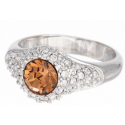 """Ring """"Solitaire Diva"""" - light smoked topaz"""