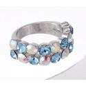 "Ring ""Trendy"" - aqua/crystal aurore boreale"