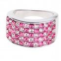 "Ring ""Minisquare 5-reihig"" - pink/light rose"