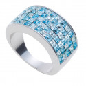 "Ring ""Minisquare 5-reihig"" - crystal/aqua"