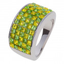 "Ring ""Minisquare 5-reihig"" - peridot/light topaz"