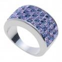 "Ring ""Minisquare 5-reihig"" - tanzanite/violette"