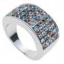 """Ring """"Minisquare 5-reihig"""" - bl. diam./sm. quartz/ind. sapph."""