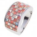 "Ring ""Minisquare 5-reihig"" - light peach/crystal aurore boreale"