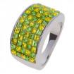 "Ring ""Minisquare 5-rowed"" - peridot/light topaz"