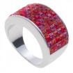 "Ring ""Minisquare 5-rowed"" - hyazinth/fuchsia/lt. siam"