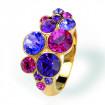 "Ring ""Waterfall"", small - fuchsia/purple velvet"