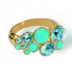 "Ring ""Waterfall"", small - aqua/turquoise"