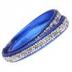 "Leather bracelet ""Trendy Minirocks"", double - royal blue/crystal"