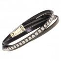 """Leather bracelet """"Fan"""" - gun metal/crystal"""