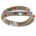 """Ladies' bracelet """"Patchwork"""", narrow, double - cognac/multi"""